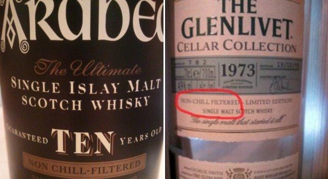 Etiquetas de whisky Ardbeg y de whisky The Glenlivet