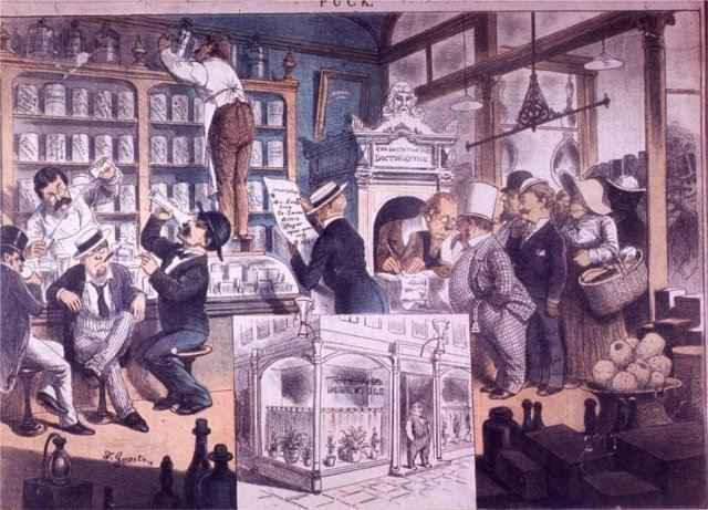 The Prohibition Movement - The Drug Store of the Future - 1882 Puck Lithograph - Alcoholics