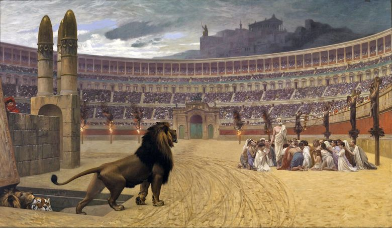 Christians are fed to the lions or covered with pitch and burned at the stake