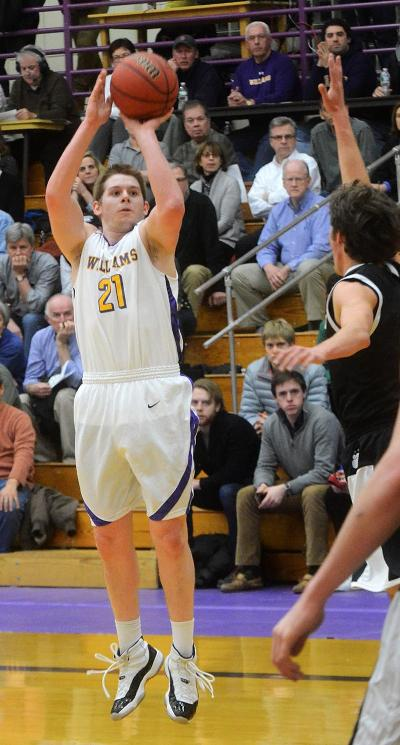 Hayden Rooke-Ley '15 returned in a big way against Hamilton last week, going 7-10 from deep in a Williams loss. Rooke-Ley and the Ephs welcome the Middlebury Panthers into Chandler Gymnasium tonight. (Courtesy of Williams Athletics)