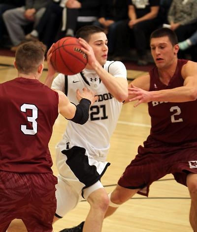 Lucas Hausman '16 tallied 44 points on Friday night, the highest total recorded in the NESCAC this season. (Courtesy of Bowdoin Athletics/CI Photography)
