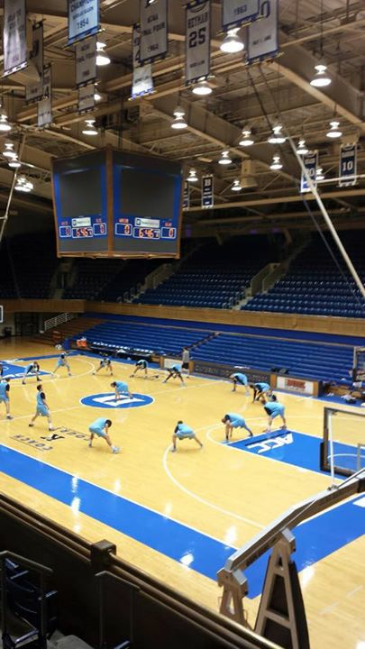 The Camels practicing in the famous Cameron Indoor Stadium at Duke.