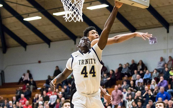 Shay Ajayi '16 tallied 22 points and 12 boards in the Bantams' two victories this weekend. (Courtesy of Trinity Sports Information/NESCAC.com)