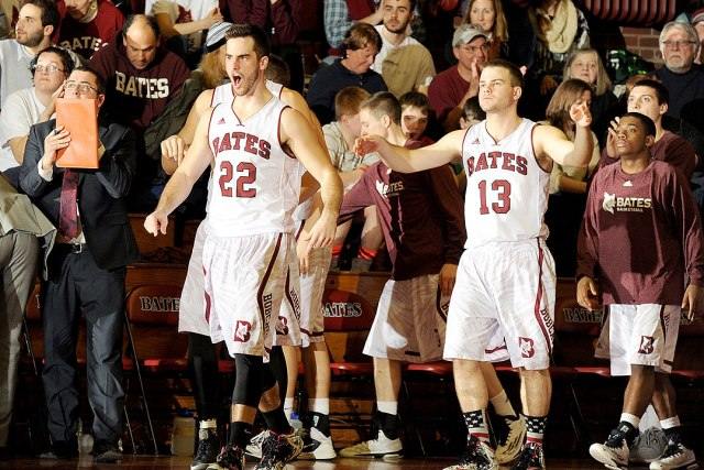 Adam Philpott '15 (22) and Cam Kaubris '15 (13) haven't had much to cheer about recently. Bates hasn't played since February 21, a NESCAC Quarterfinal loss to Wesleyan. (Courtesy of Daryn Slover/Bates Athletics)
