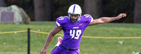 Phillip Nwosu '15 has been one of the NESCAC's best over the past four years, and he cemented his legacy with a game-winner against Wesleyan. (Courtesy of Amherst Athletics)