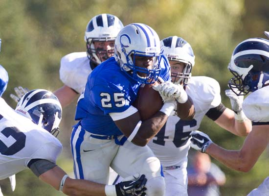 Jabari Hurdle-Price '17 become the team's feature back once Carl Lipani '17 went down with an injury last season and proved that he can carry the load, averaging 4.1 YPC. (Dustin Satloff/Colby College Athletics)
