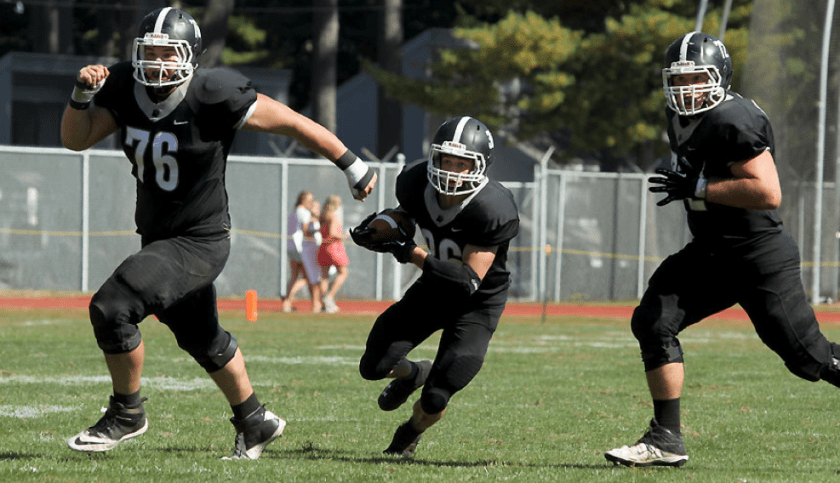 Running Back Tyler Grant '17 has the advantage of running behind an experienced line. (Courtesy of Bowdoin Athletics)