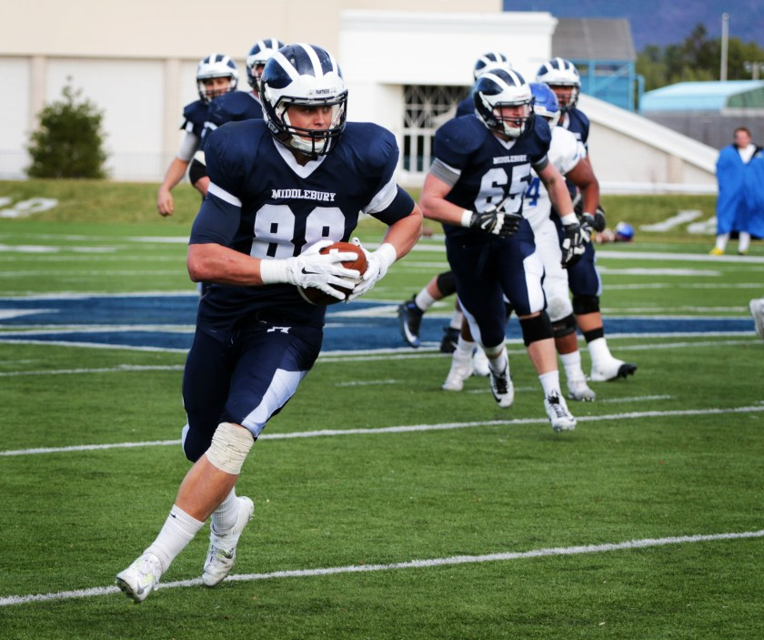Matt Minno '16 has his eyes on the end zone and the record books this Saturday at Tufts. (Courtesy of Michael Borenstein/Middlebury Campus)