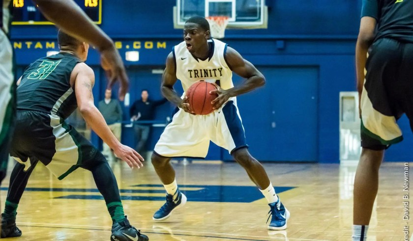 Shay Ajayi '16 is playing the best basketball of his Trinity career, and the Bantams are looking to win their second NESCAC title. (Courtesy of David B. Newman/Trinity Athletics)