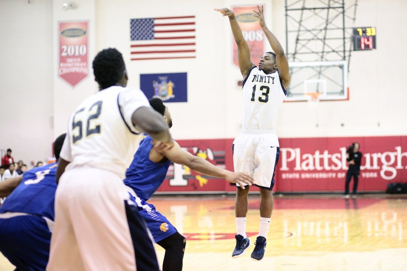 The efforts of Jaquann Starks '16 and Eg Ogundeko '17 weren't enough to get Trinity by high-scoring Johnson & Wales in the first round of the NCAA Tournament at Plattsburgh St. (Courtesy of Trinity Athletics)