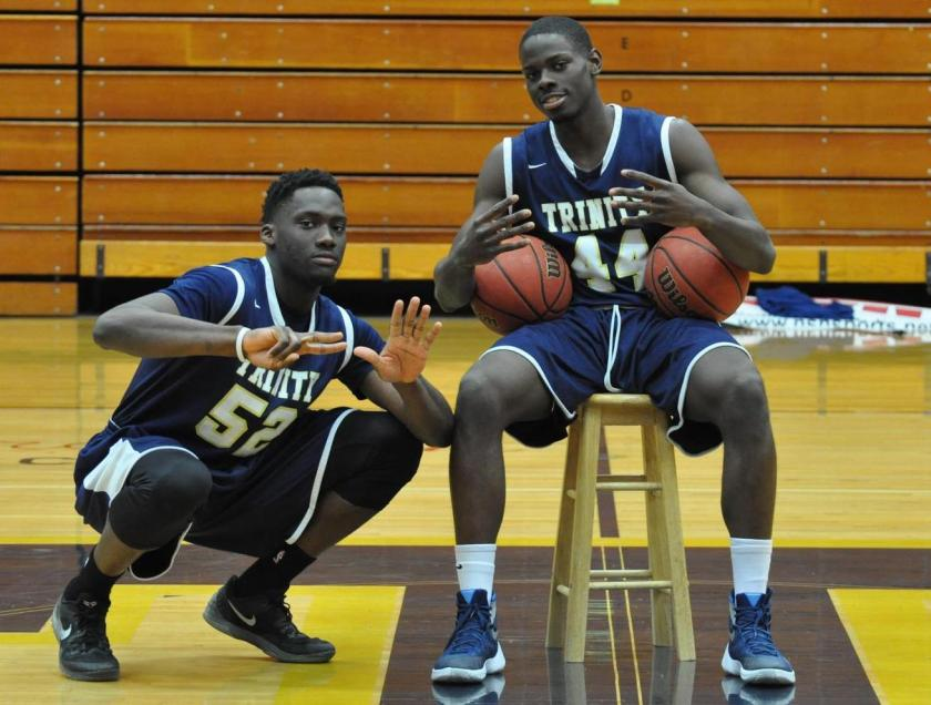 Ed Ogundeko '17 (52) and Shay Ajayi '16 (44) are both NbN All-NESCAC and All-Defensive players. (Courtesy of Trinity Athletics)