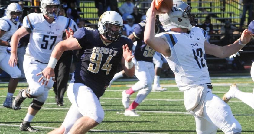 NT Matt D'Andrea '17 looks to continue getting pressure on the quarterback this weekend against Middlebury (Courtesy of Trinity Athletics).