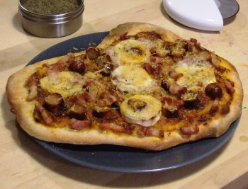 Bacon, Sausage and Goats cheese pizza