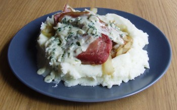 Bacon and Cabbage with Onion and Parsley Sauce served with Mashed Potato