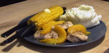 Just Peachy Chicken with Mashed Potato and buttered corn