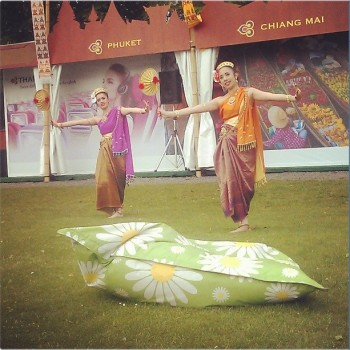 Thai Dancers again, with one of the wonderful Elephant beanbags in front