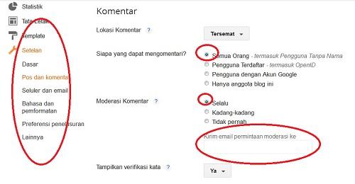 Seting Moderasi Komentar Blog di Blogger
