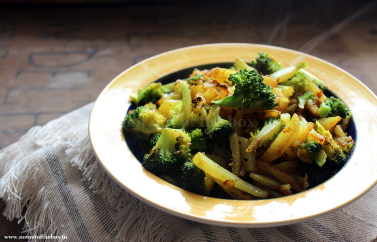 Stir Fried Potatoes with Broccoli/ Aloo Broccoli Bhaja