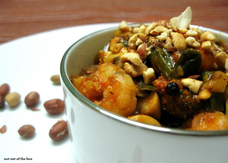 Stir fried mushrooms and prawns  with roasted peanuts