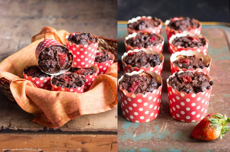 Eggless Chocolate chip & Strawberry Oats Muffins