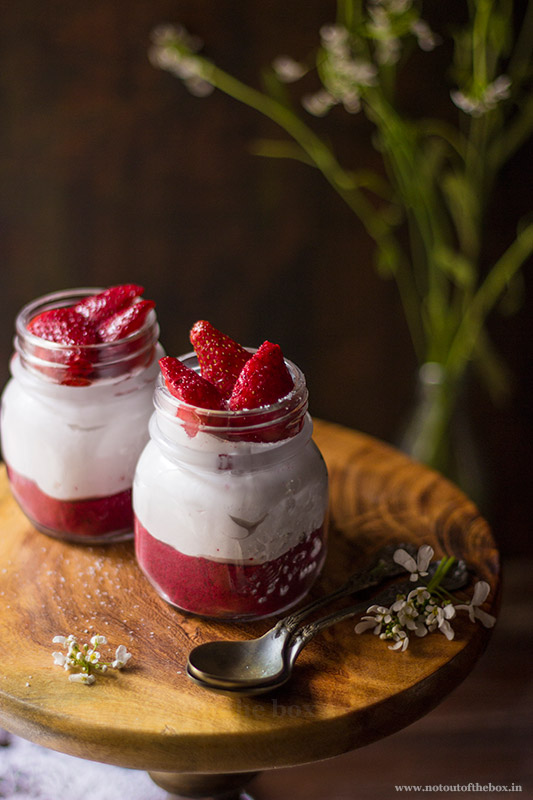 Cake Crumble Cream Cheese Jars with Red Wine Strawberries