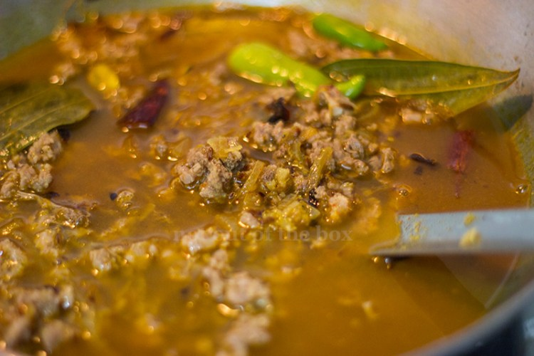 Cook the boiled mutton keema for some time