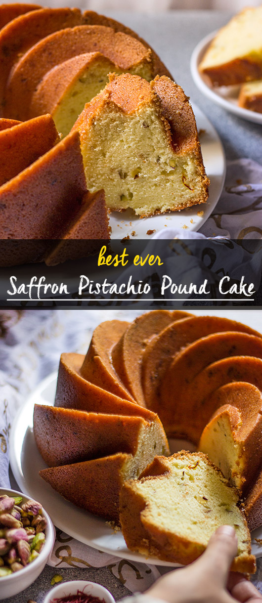 Saffron Pistachio Pound Cake