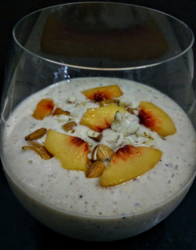Power packed peach and banana smoothie
