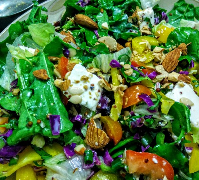 Nothing tastes better than feta and almonds in a salad