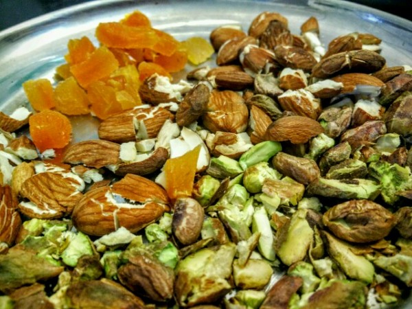 Chopped dry fruits for the chocolate bark