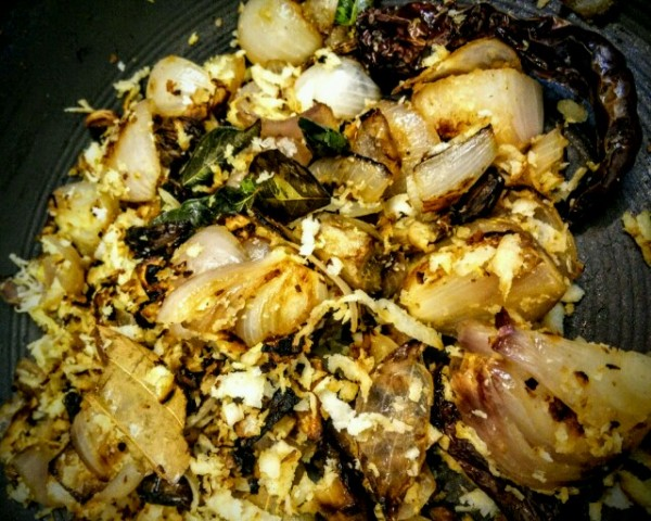 The masala that's ready to be ground for the Kerala Black Pepper Chicken