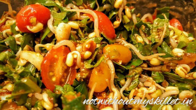 Sprout salad with tamarind and peanuts