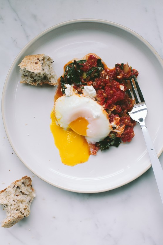 Baked Eggs with Kale and Wheat Berries // Not Without Salt