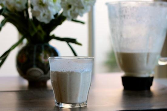 creamy vanilla cashew milk with flowers