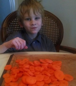 Chopped carrots for chicken soup