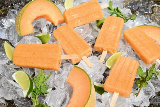 Cantaloupe Lime Mint Popsicles