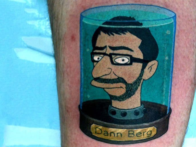Dann Berg's Futurama Head in a Jar Tattoo