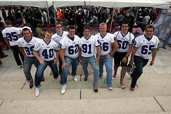 """EDMONTON ALBERTA, SEPTEMBER 14, 2010: Members of the Harry Ainley Titans Football team took part in the YWCA's """"Walk a Mile in Her Shoes"""" event to bring awareness to violence against Women in Churchill Square in Edmonton Ab on Tuesday Sept. 14, 2010. (Photo by John Lucas/Edmonton Journal)"""