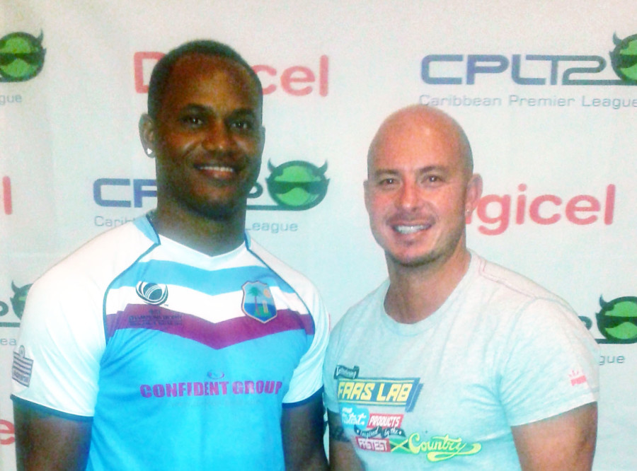 CPL Franchise players Marlon Samuels and Herschelle Gibbs at the cpl Press Conference in Barbados2