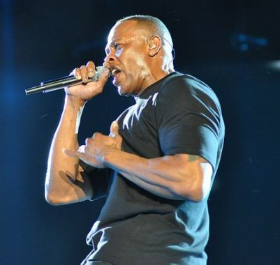 Dr. Dre (Andre Romelle Young) performing at Coachella, 2012. Cropped version.  Photo by Jason Persse