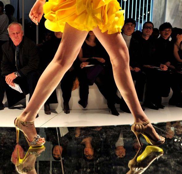 front row fashion week heels yellow