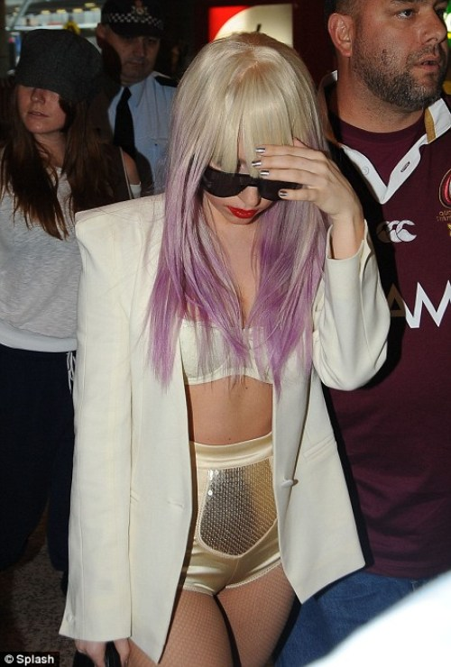 Lady Gaga with purple ombre hair