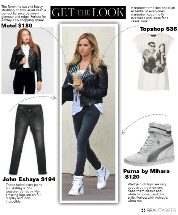 Get Ashley Tisdale's Look Studded leather Jacket Wedge Puma Sneaker
