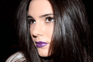 kendall jenner purple cheetah violent lips - winter 2014 beauty trend - purple lips