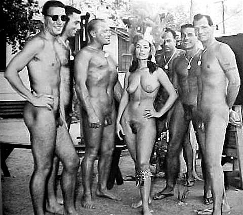 family posing nude