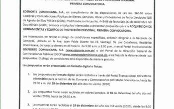 EDENORTE-Santiago de los Caballeros convoca a licitación publica para adquisición de herramientas y equipos de protección personal