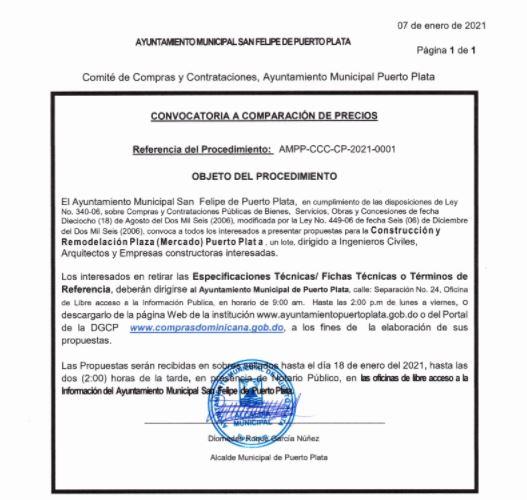 Alcaldía de Puerto Plata convoca a proceso de comparación de precios para remodelación del Mercado Municipal