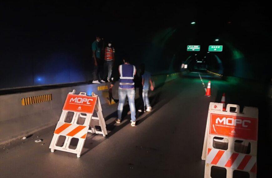 Obras Públicas cerrará túneles y elevados esta noche por mantenimiento