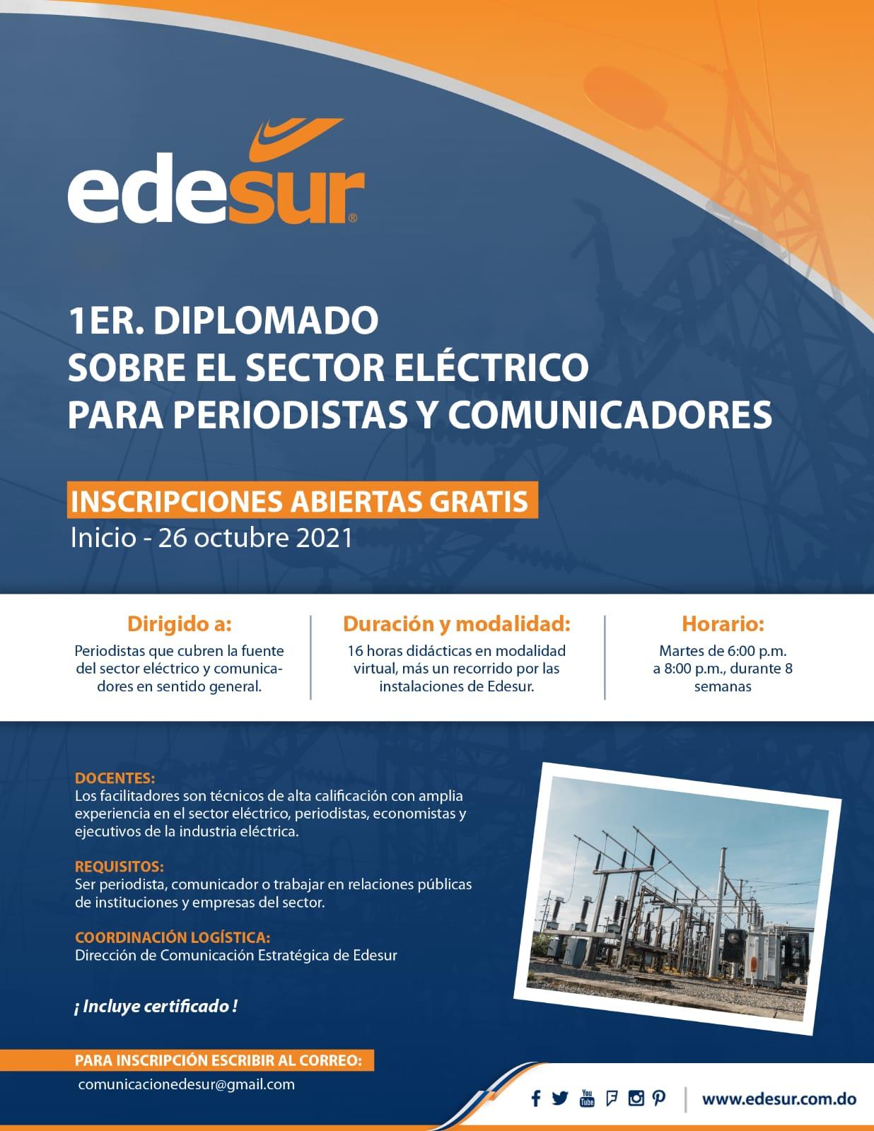 *Edesur invita a periodistas y comunicadores a diplomado sobre el sector eléctrico *