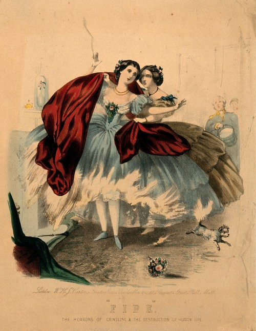 V0048935 Women wearing crinolines set on fire, ca. 1860, lithograph